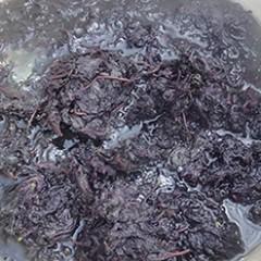 たっぷりの湯で紫蘇を茹でる